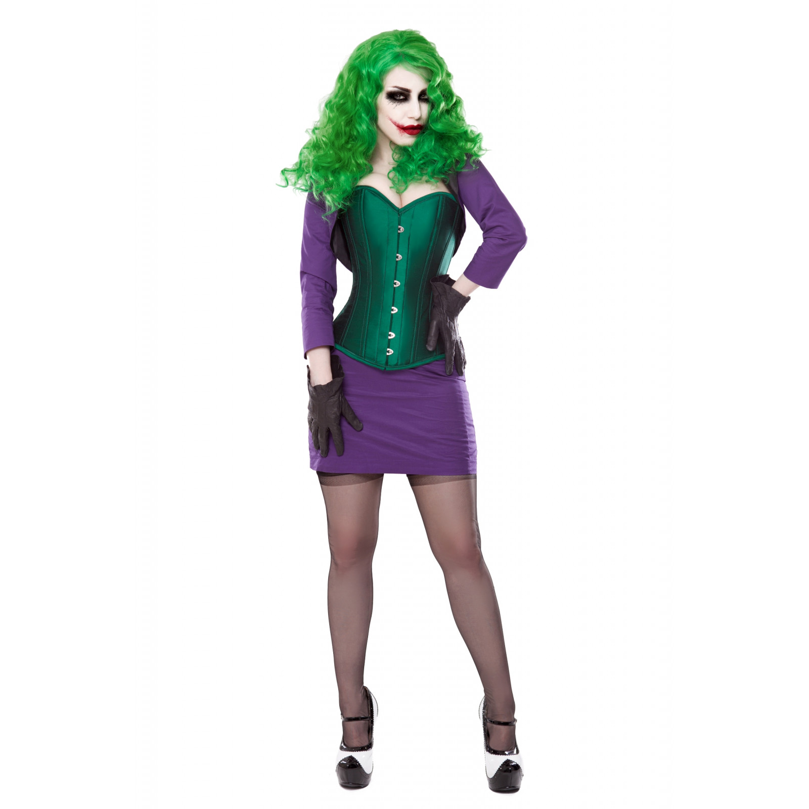 c76beb2681 Green Silk Corset With Purple Bolero   Skirt Outfit