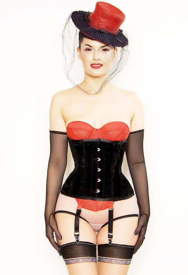 Playgirl Steel Boned Black Velvet Cincher Corset