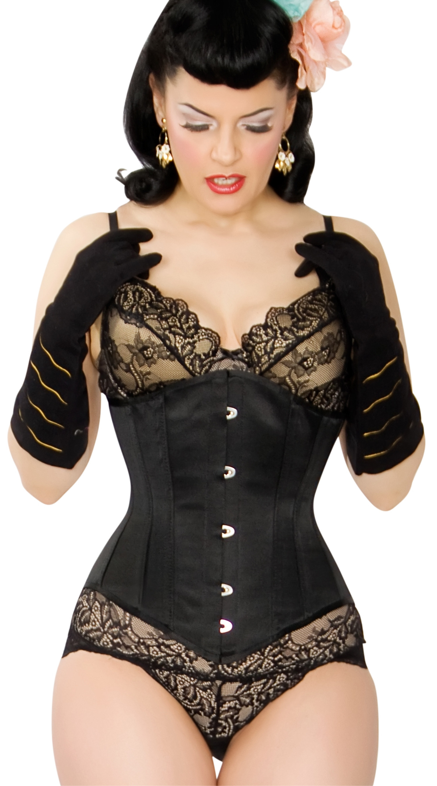 Kinnaird Ireland Black Duchess Satin Lilah Steel Boned Corset
