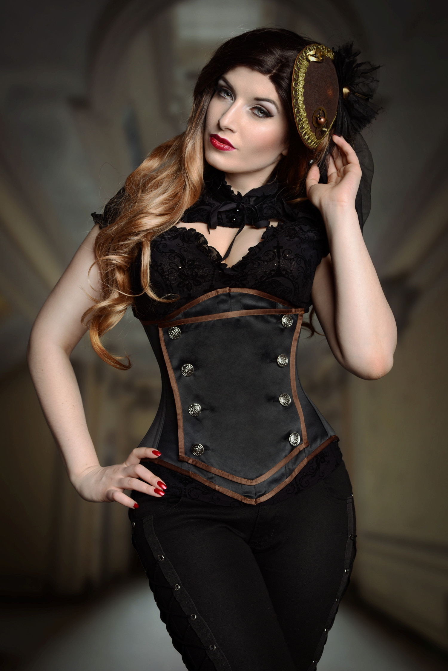 Black Duchess Satin Lilah Steel Boned Corset With Removable Panel