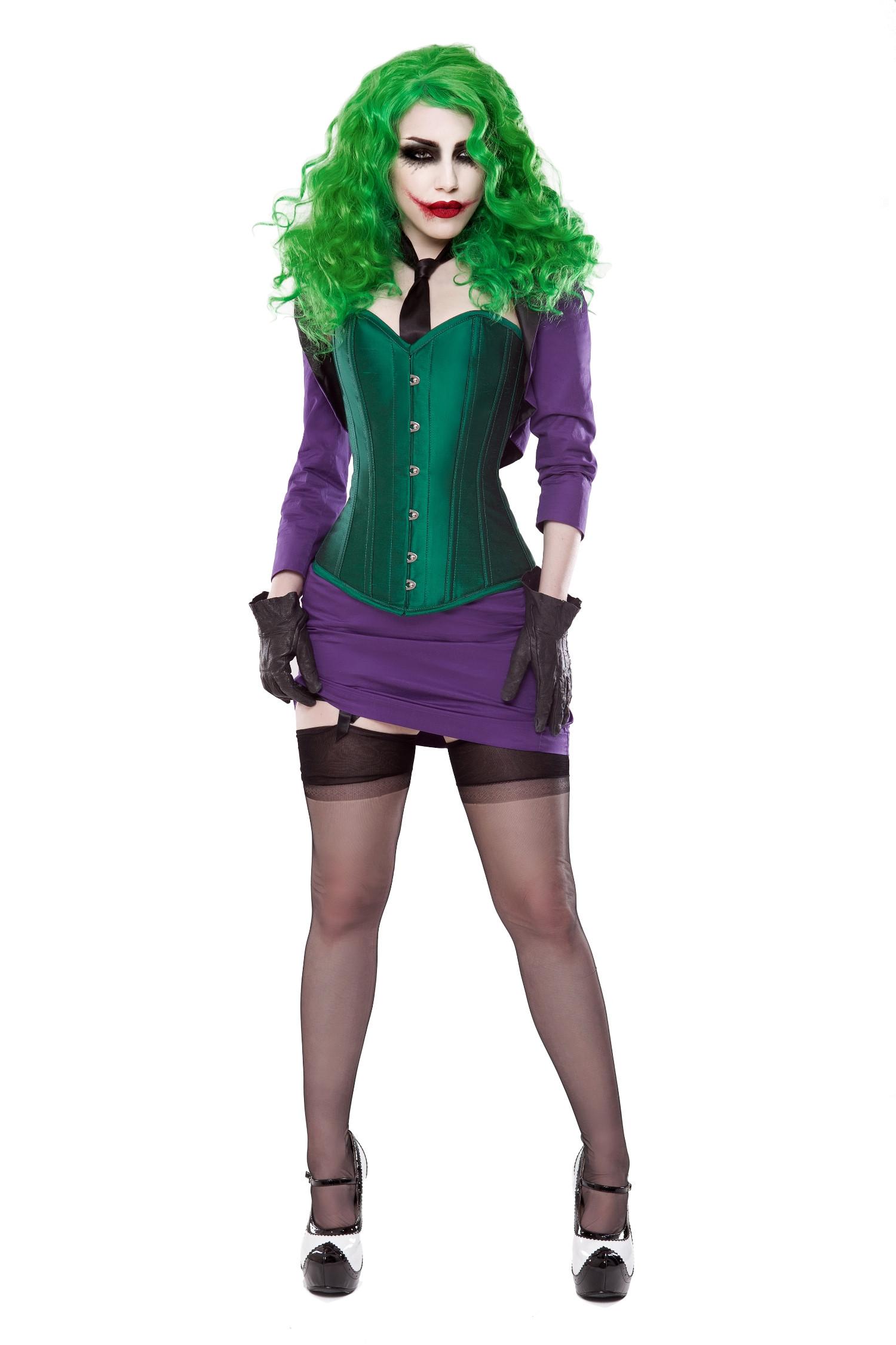 Green Silk Corset With Purple Bolero & Skirt Outfit