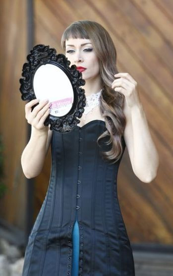 Black Duchess Satin Steel Boned Mini Corset Dress