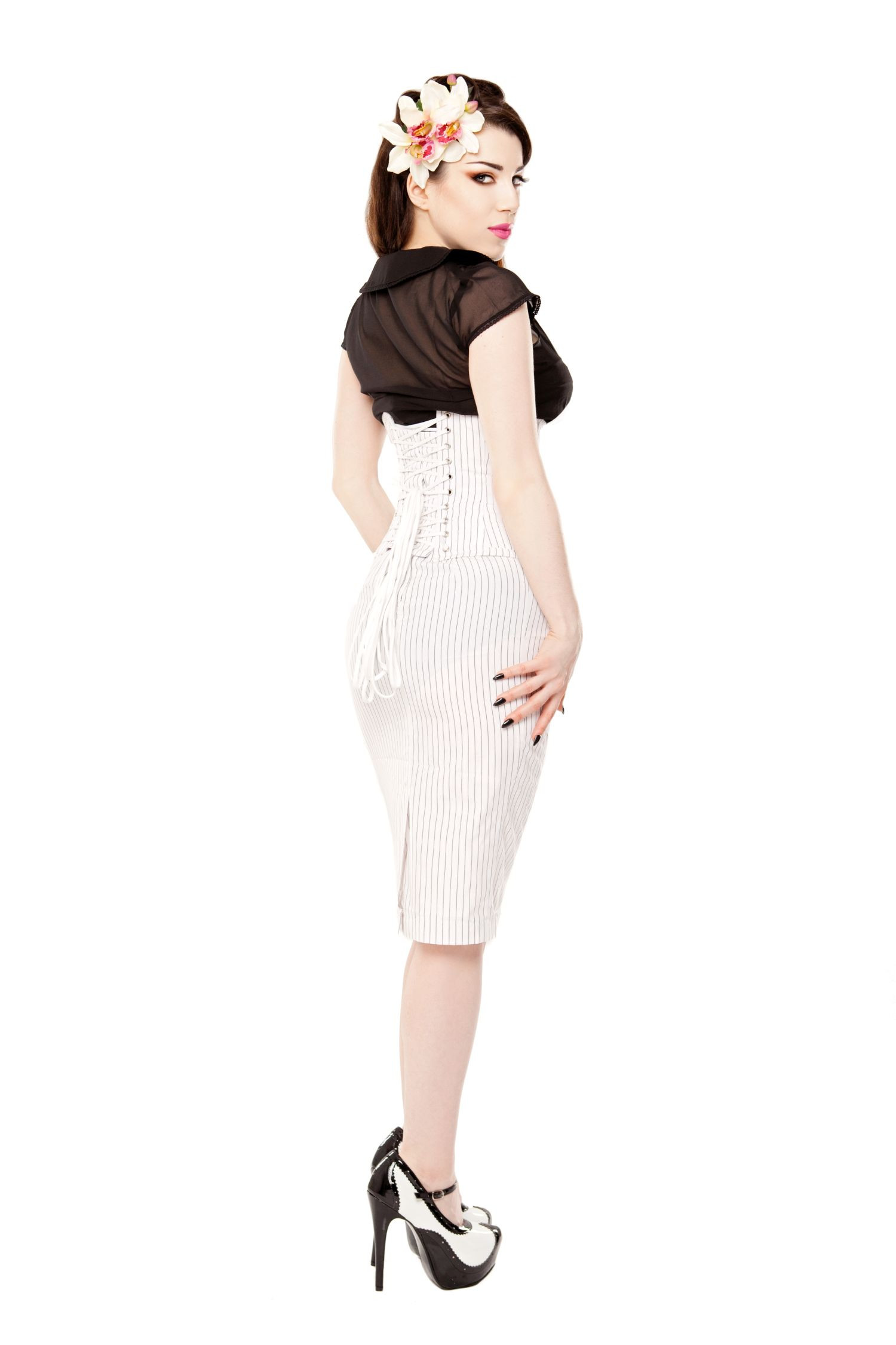 Long White Pinstripe Pencil Skirt