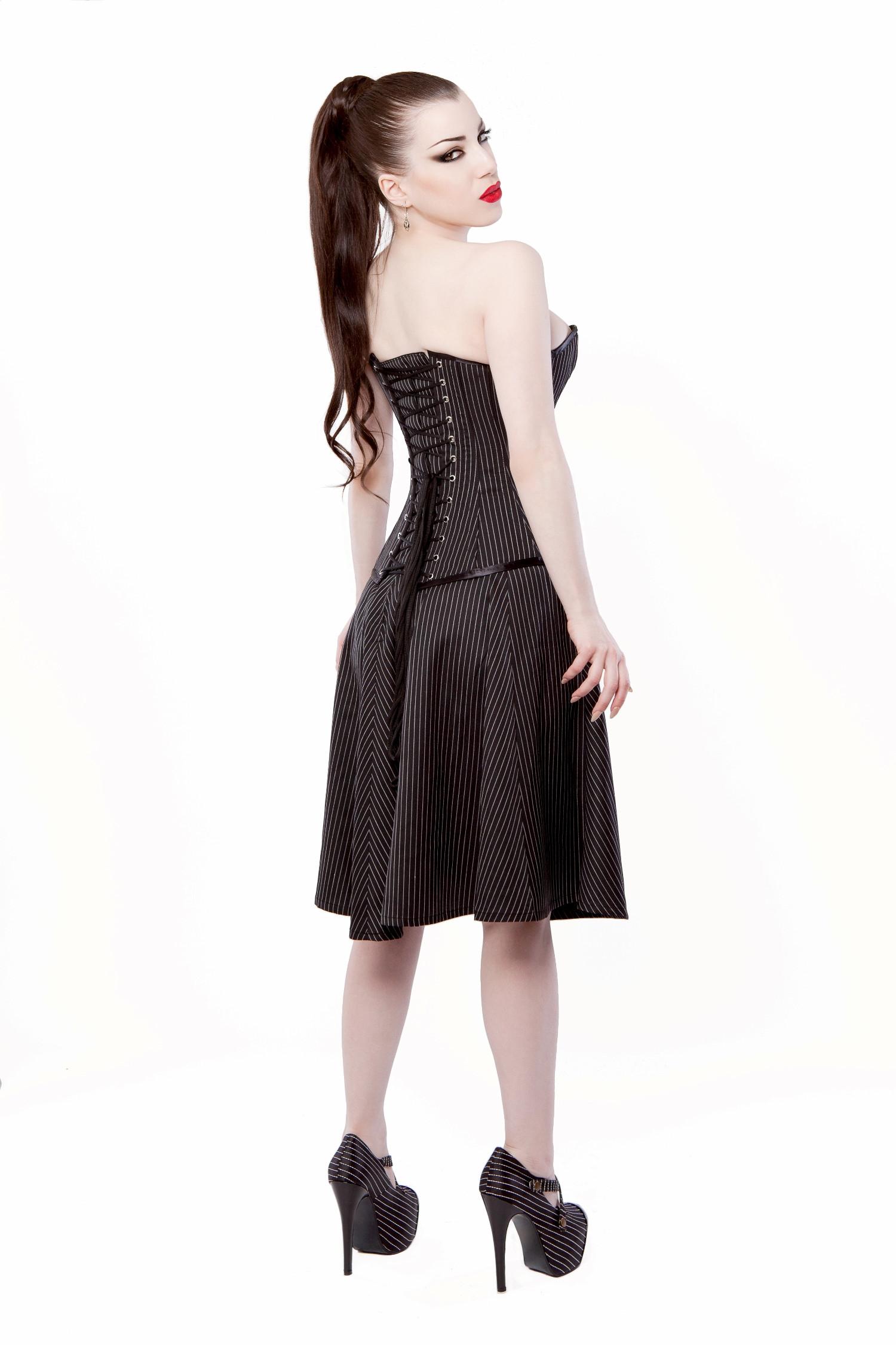 Black Pinstripe Circle Skirt