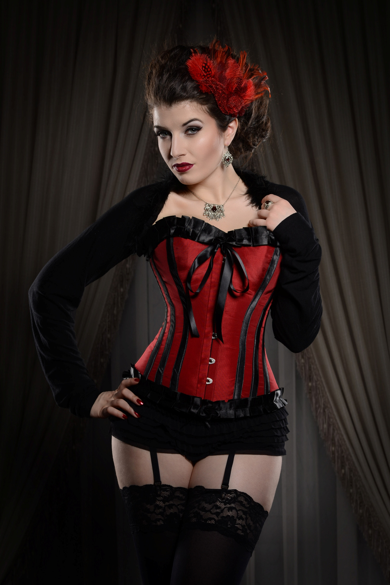 Ruby Red & Black Steel Boned Corset With Ribbon