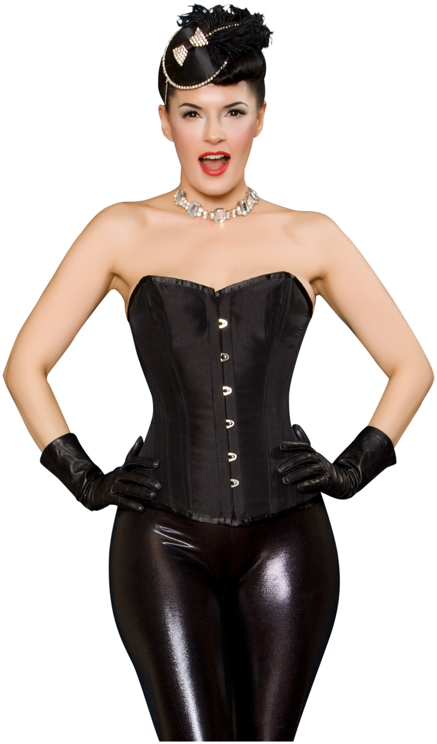 Lush Black Tafetta Steel Boned Overbust Corset By Playgirl