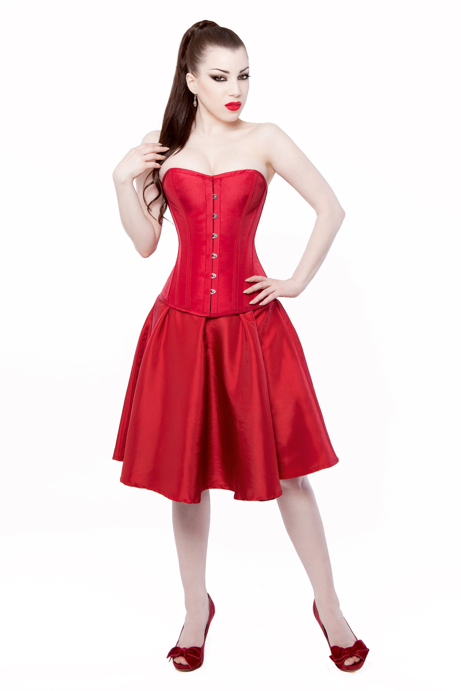 Red Taffeta Steel Boned Overbust Corset By Playgirl