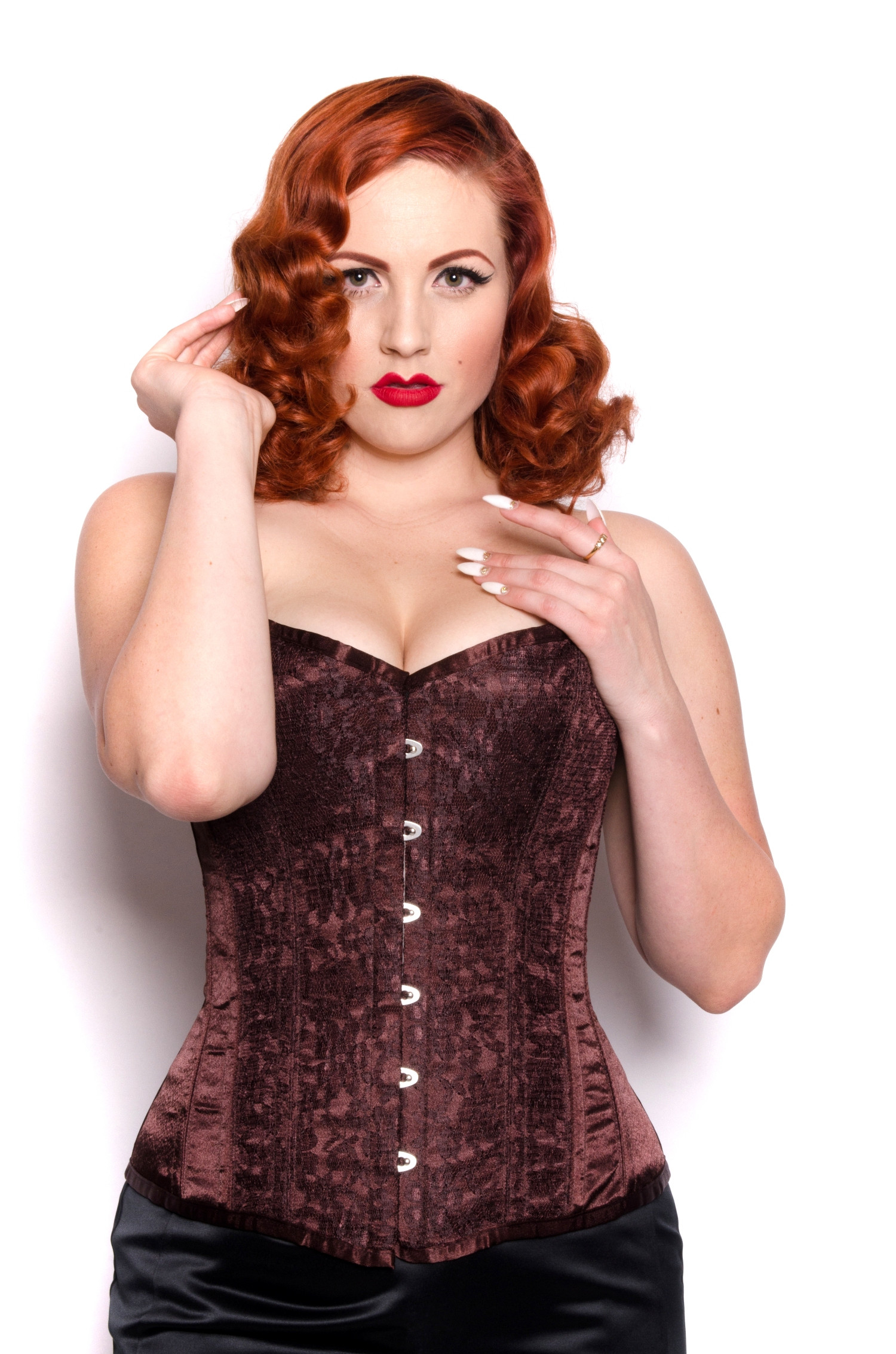 Chocolate Brown Long Length Steel Boned Corset By Playgirl