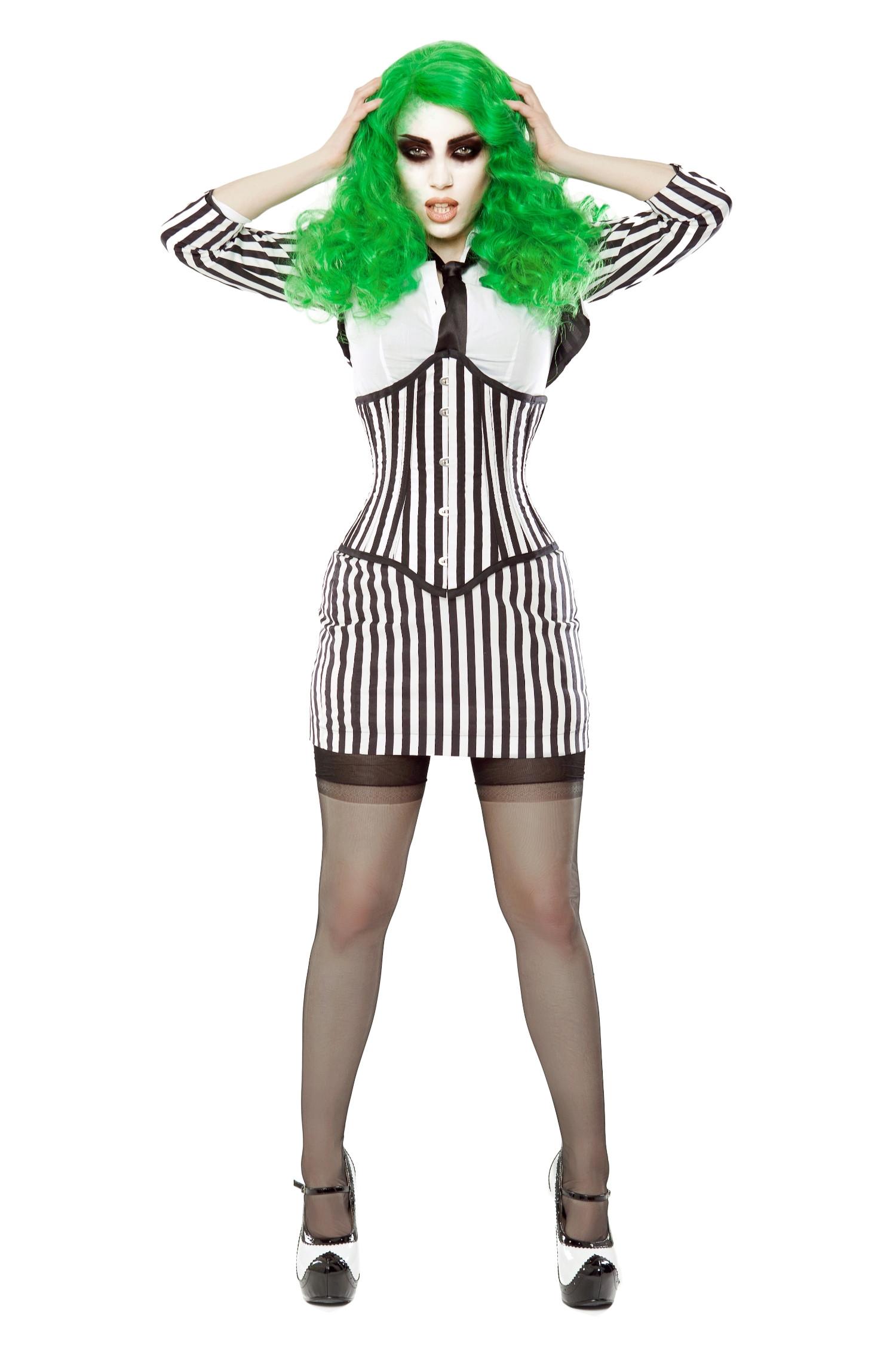 Black & White Stripe Corset, Bolero & Skirt Outfit