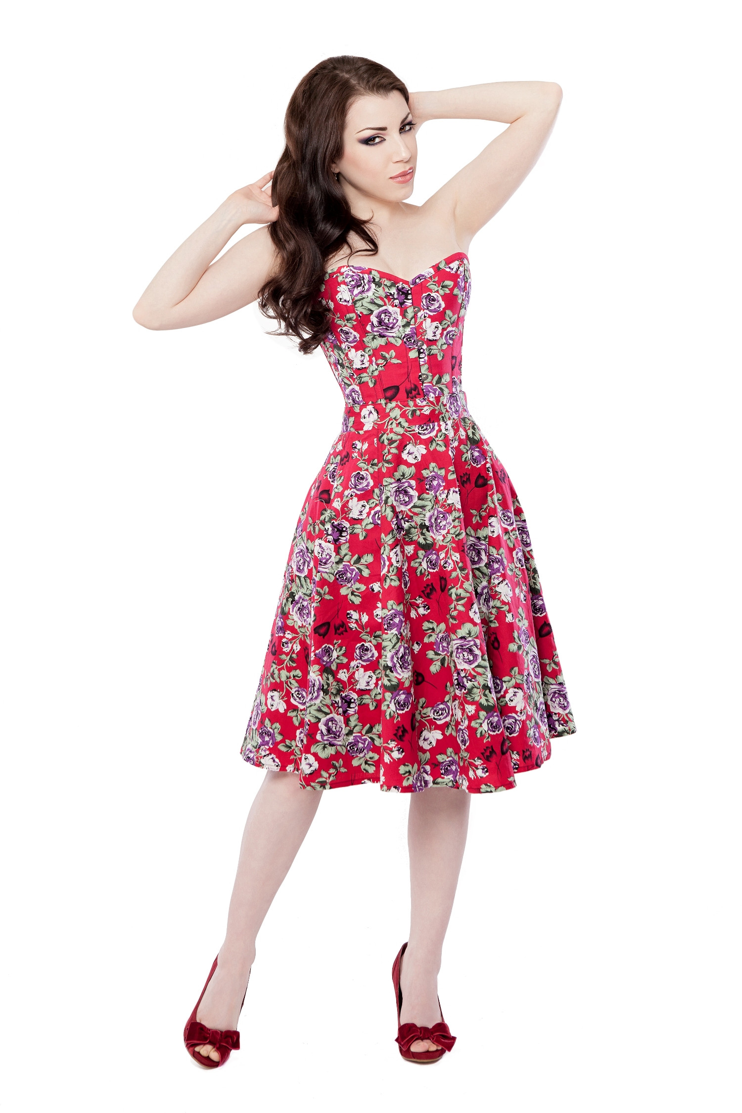 Red Floral Circle Skirt