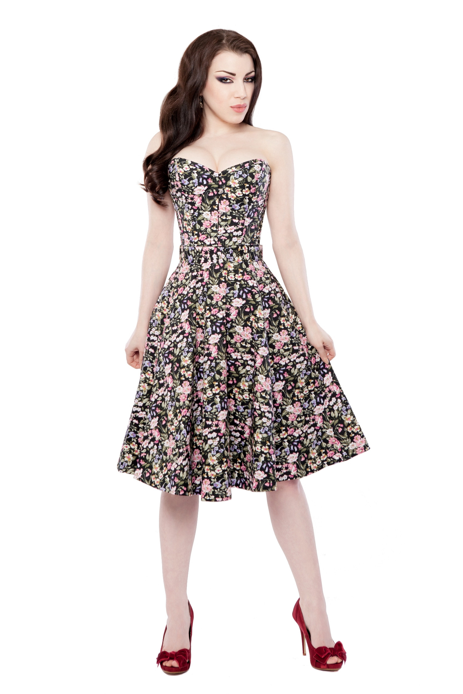 Black Floral Corset Dress With Long Corset