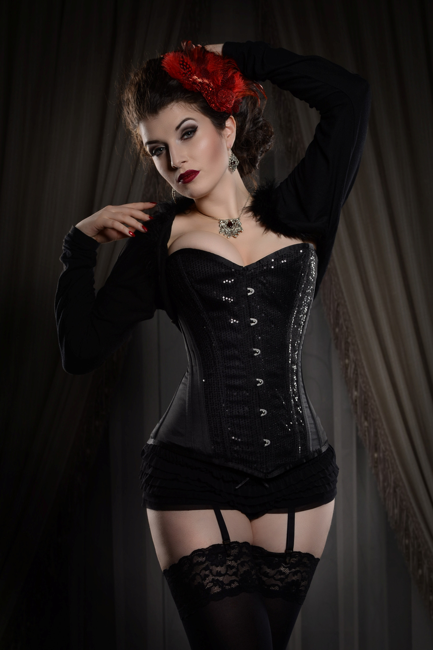 Black Satin Steel Boned Overbust Corset With Sequins