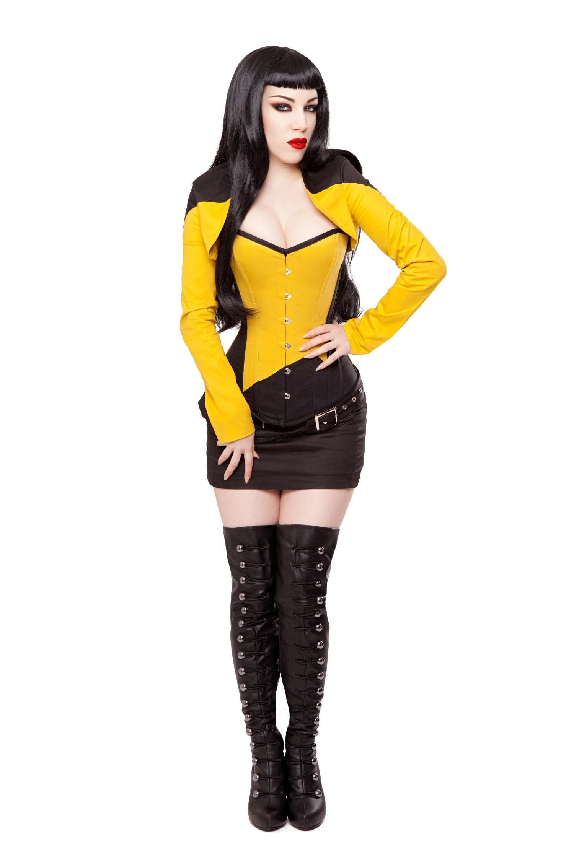 Black/Yellow Corset, Bolero, Skirt, Belt & Boots Outfit