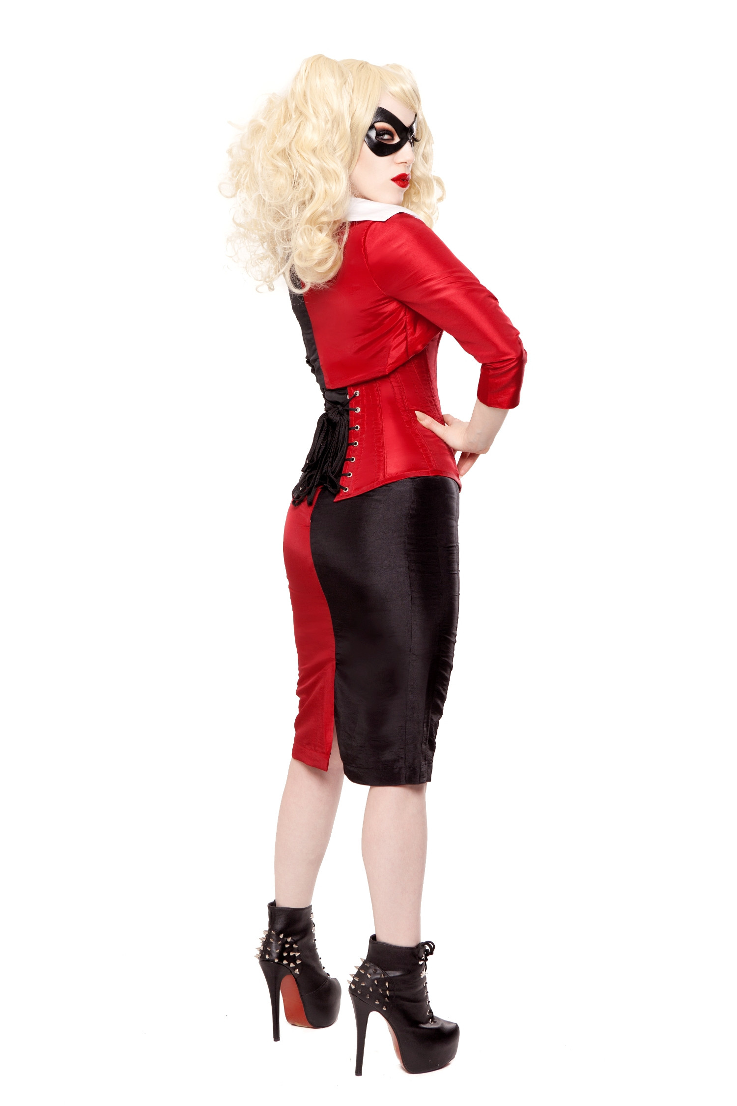 Black & Red Tafetta Long Pencil Skirt
