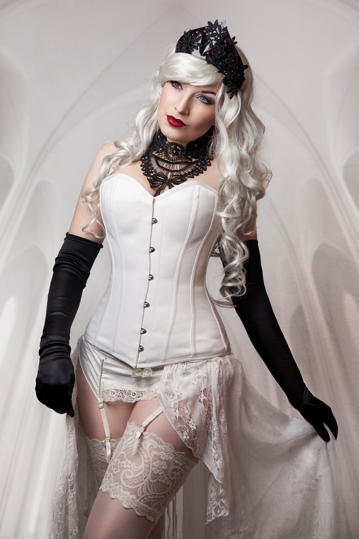 Long Satin Overbust Ivory Steel Boned Corset