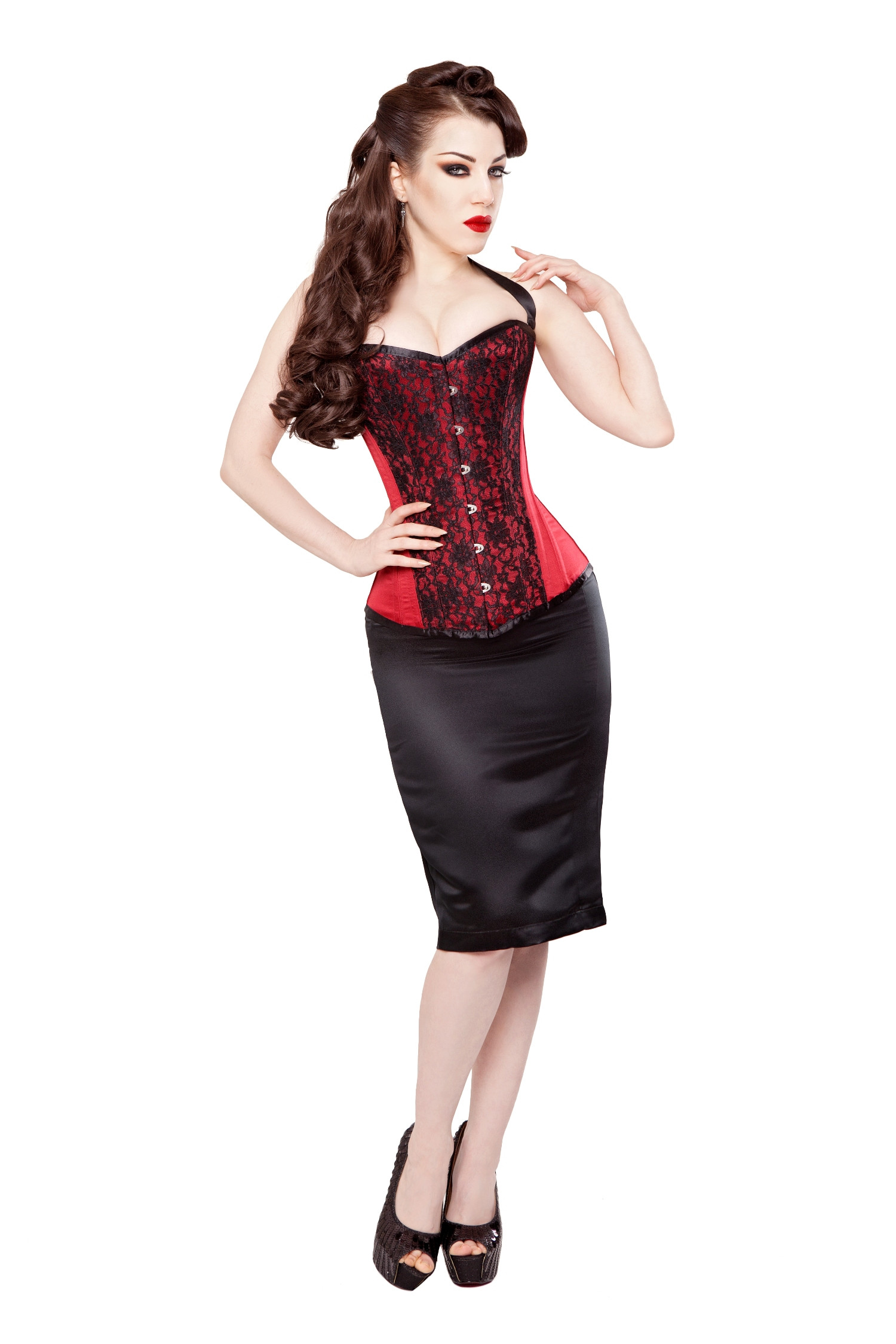 Red Duchess Satin Corset With Opulent Lace Overlay