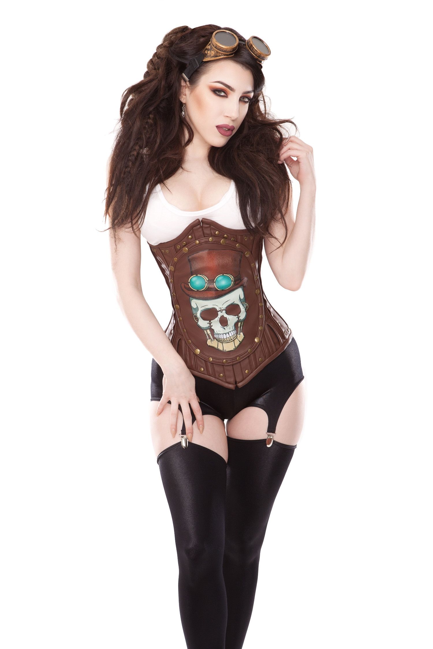 Gored Hips Brown Corset With Removable Skull