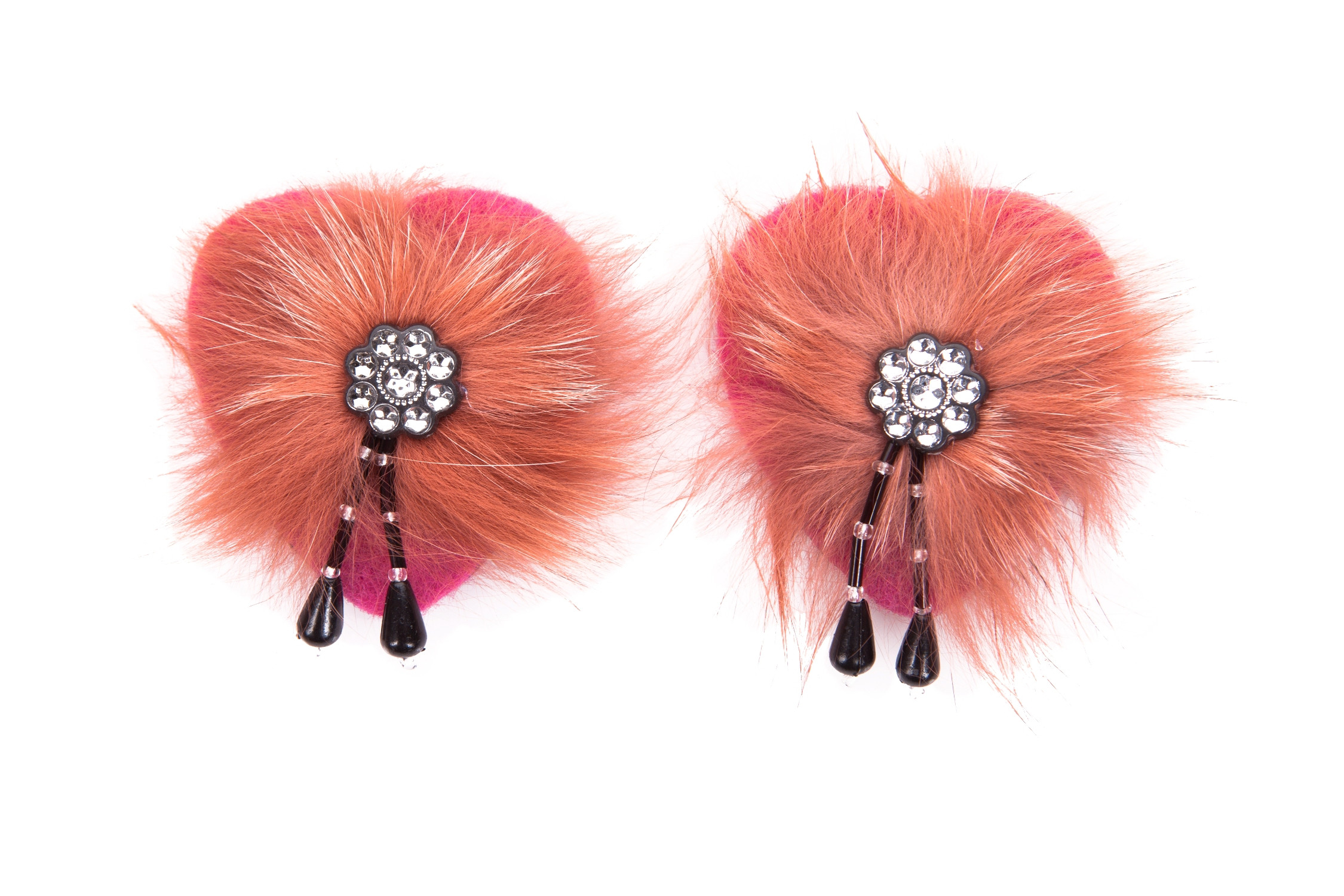 Diamonte Nipple Tassels In Burnt Orange Faux Fur