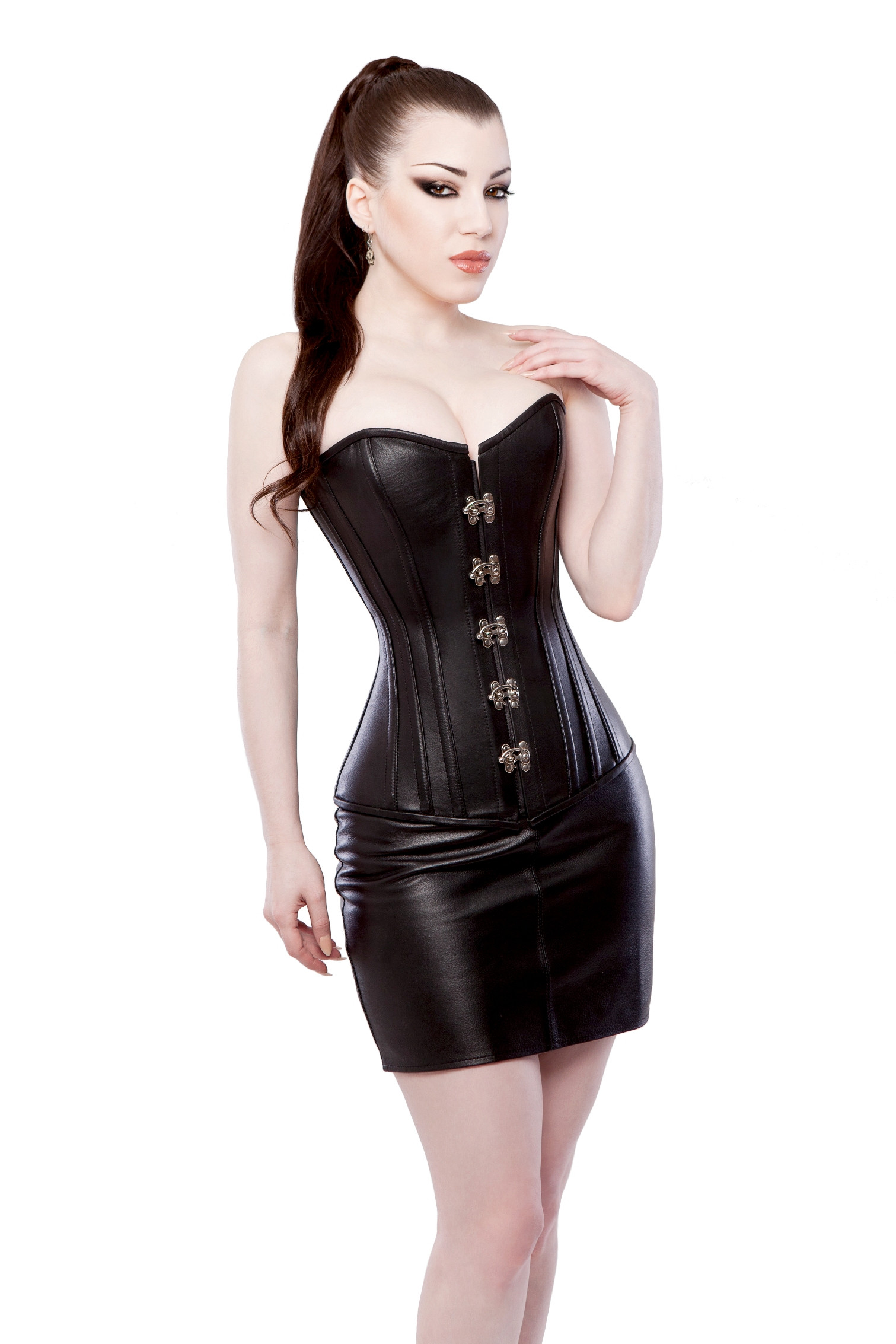 Long Black Leather Overbust Steel Boned Corset