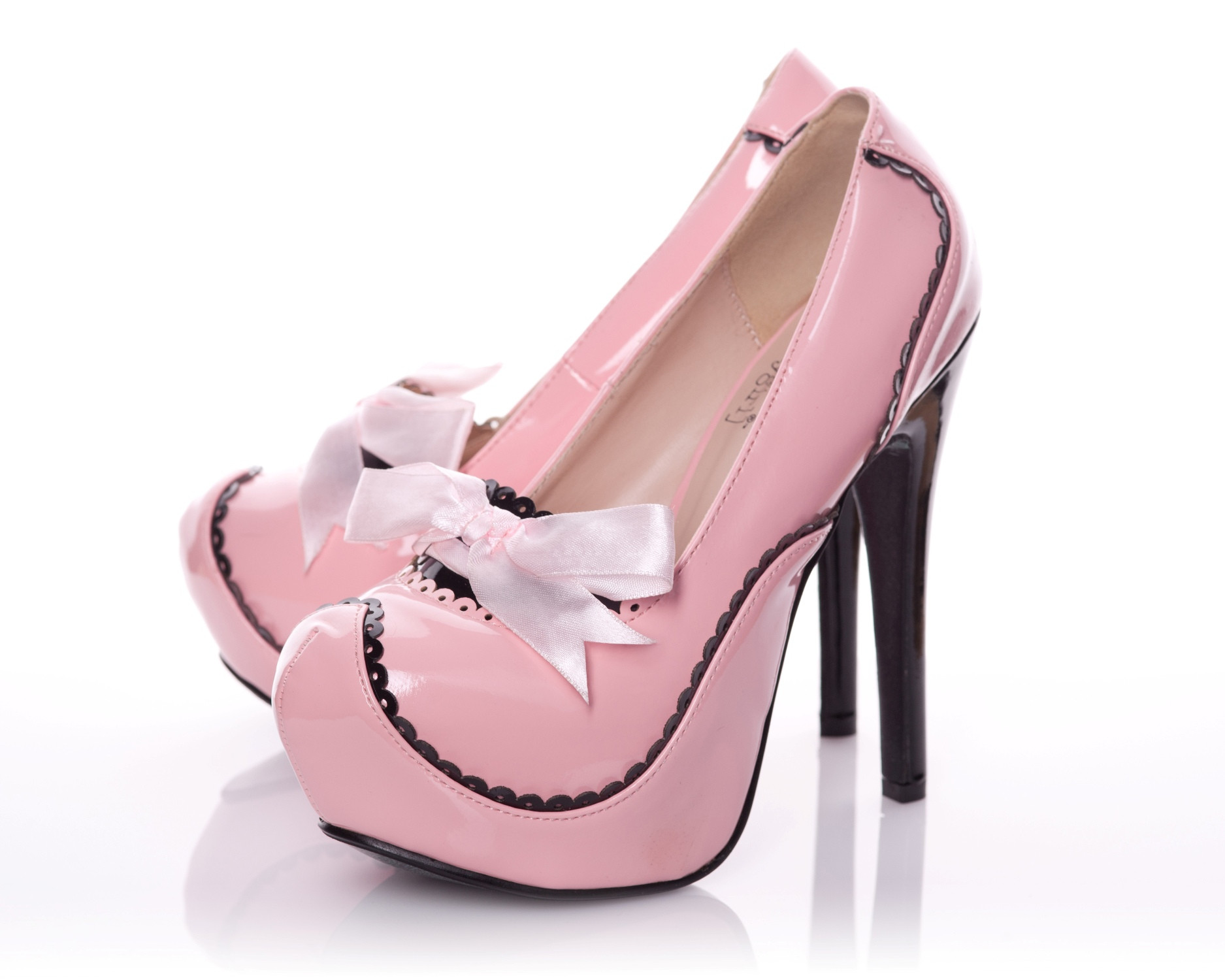 Patent Rounded Toe Platform Pump In Pink With Black Contrast