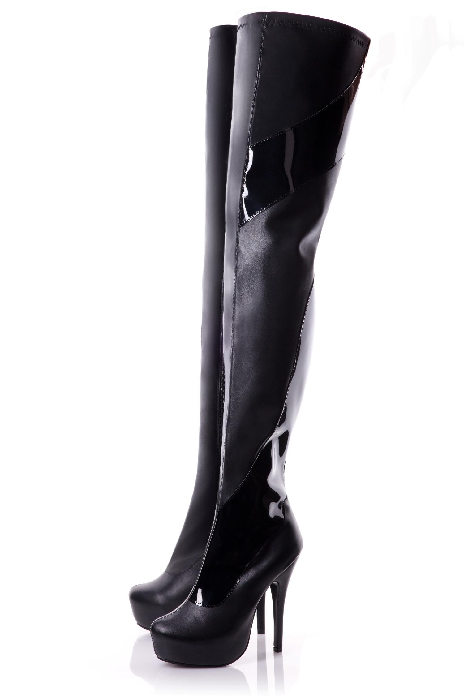 Crotch High Black Matt Boots With Patent Detail