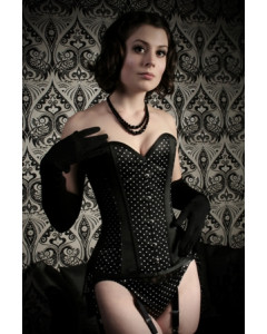 Dita Corset In Black With White Dots