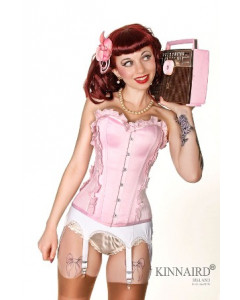 Retro Pink Gingham Over The Bust Dita Corset With Satin
