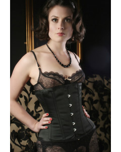 Waist Cinching Satin Under The Bust Black Trixi Corset