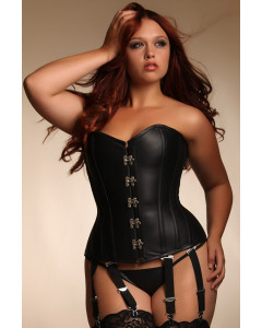 Plus Size Angelina Steel Boned Black Leather Corset