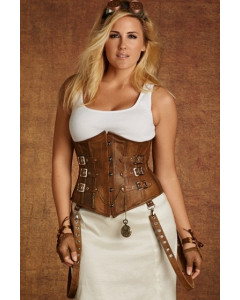Plus Size Tara Underbust Tan Leather Corset With Buckles