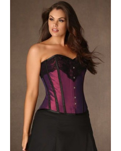 Plus Size Iridescent Taffeta Steel Boned Corset