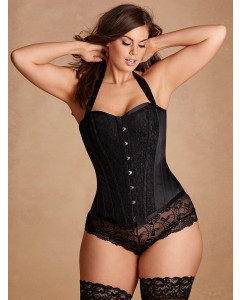 Plus Size Justine Steel Boned Corset With Halter Straps