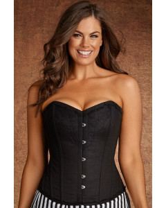 Plus Size Lilith Vintage Black Lace And Cotton Steel Boned Corset