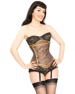 Brown Stripe Lilah Steel Boned Cincher Corset