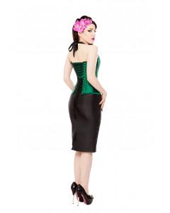 Long Black Tafetta Pencil Skirt