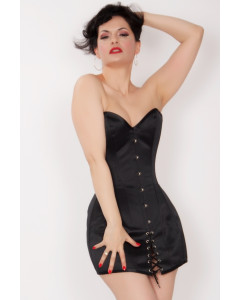 Black Duchess Satin Steel Boned Mini Corset Dress