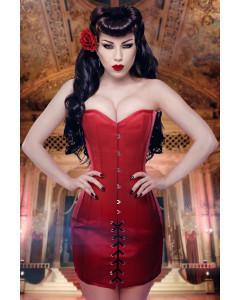 Rouge Duchess Satin Steel Boned Mini Corset Dress