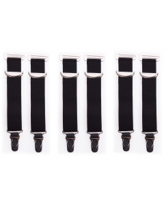 6 Wide Black High Quality Metal Suspenders/Garters