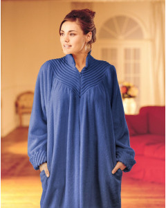 Soft Cotton Chenille Zip Dressing Gown In Royal Blue