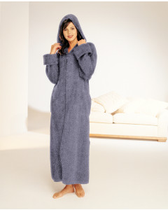 Lush Cotton Chenille Zip Robe With Hood
