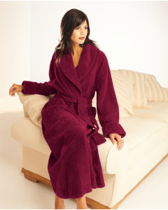 Loganberry Fluffy Cotton Chenille Shawl Collar Wrap Over Dressing Gown
