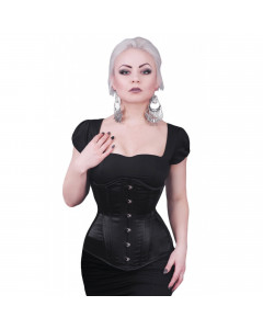 Black Satin Long Steel Boned Corset