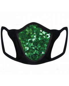 Green Sequin & Lycra Face Mask With Filter