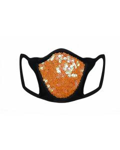 Orange Sequin & Lycra Face Mask With Filter