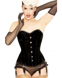 Playgirl Layla Corset In Lush Black Velvet