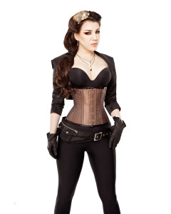 Steampunk Brown Underbust Corset With Bolero & Belt