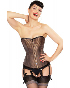 Playgirl Steel Boned Corset In Lush Brown Shadow Stripe