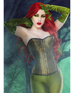 Steel Boned Corset In Beautiful Green Shadow Stripe