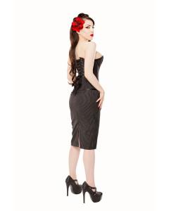 Long Black Pinstripe Pencil Skirt