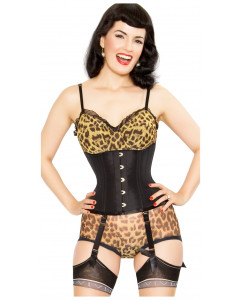 Playgirl Eve Steel Boned Taffeta Black Cincher Corset